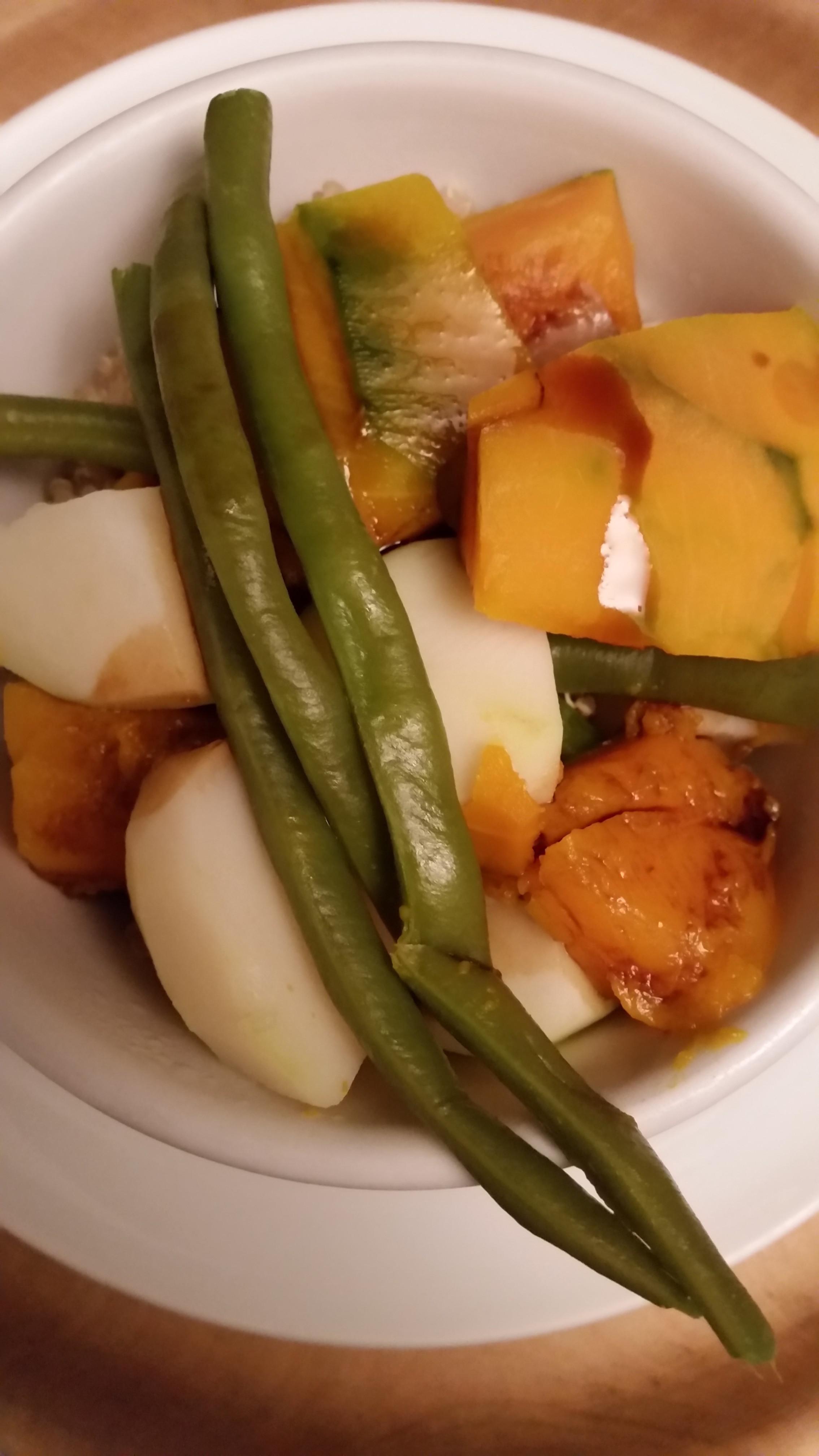 quinoa con zucca, patata e cornetti