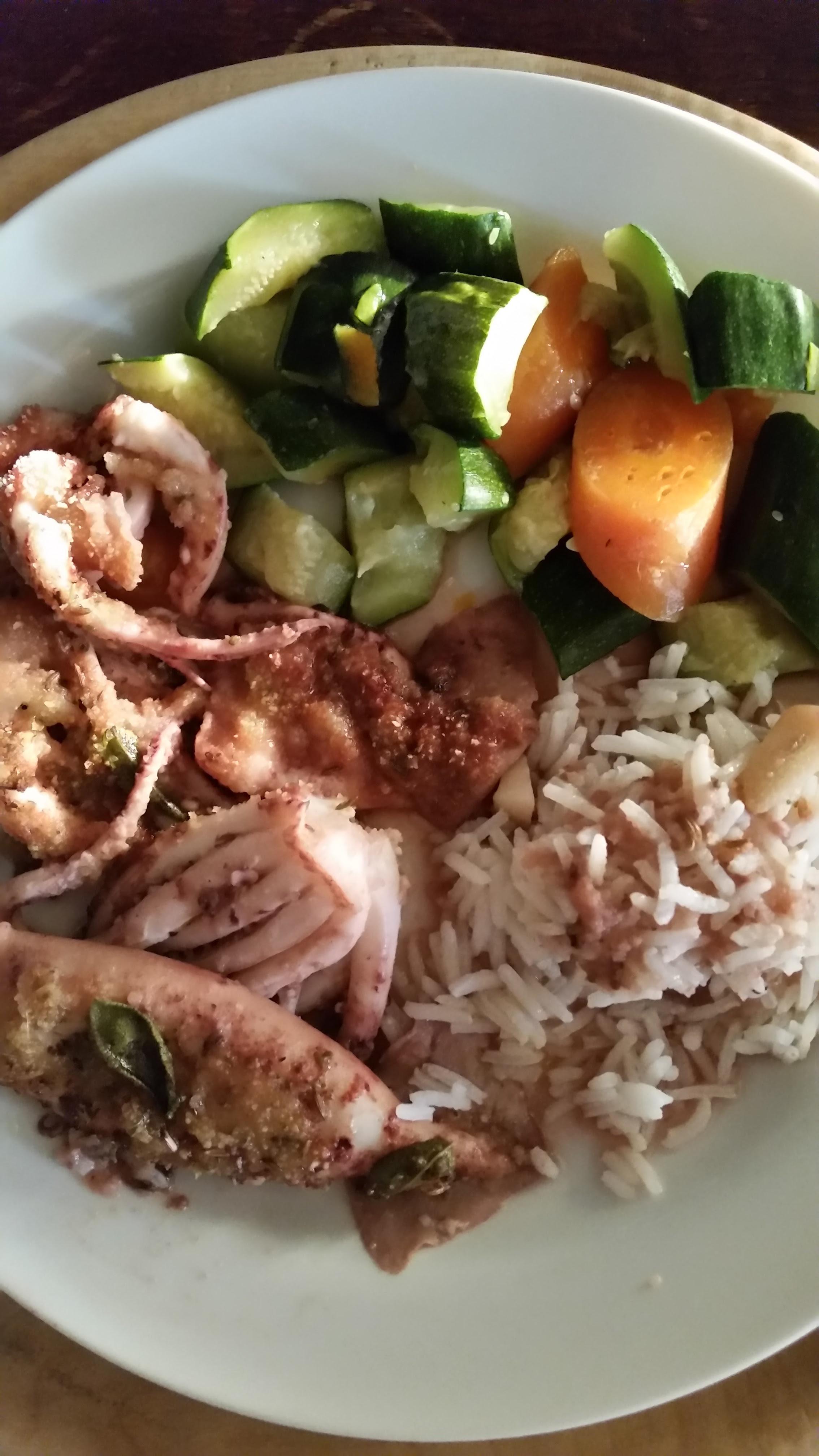 linea snella con molluschi, riso e verdure